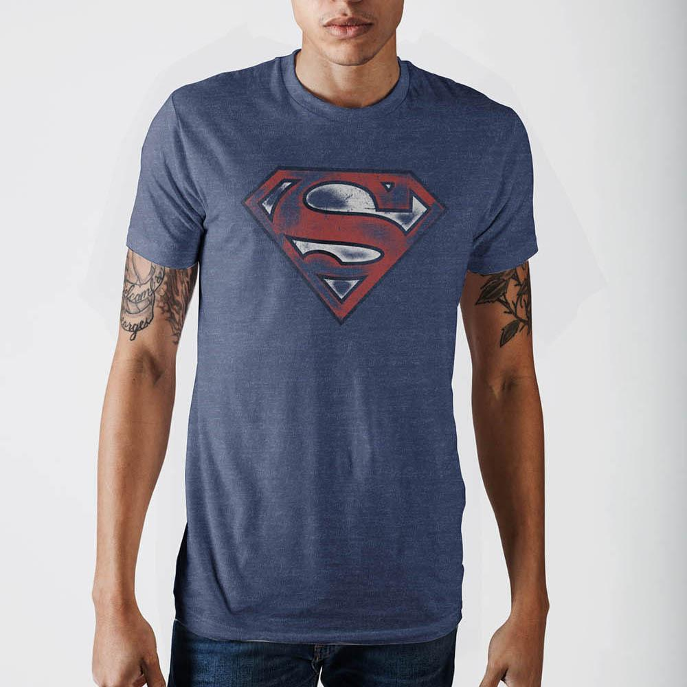 Superman Mens Navy  T-Shirt
