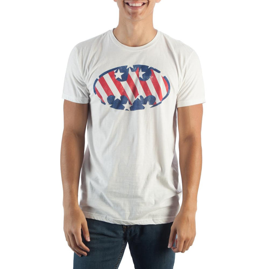 Batman Logo Americana Mens Whi  T-Shirt