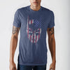 Batman Face Americana Mens Blu  T-Shirt