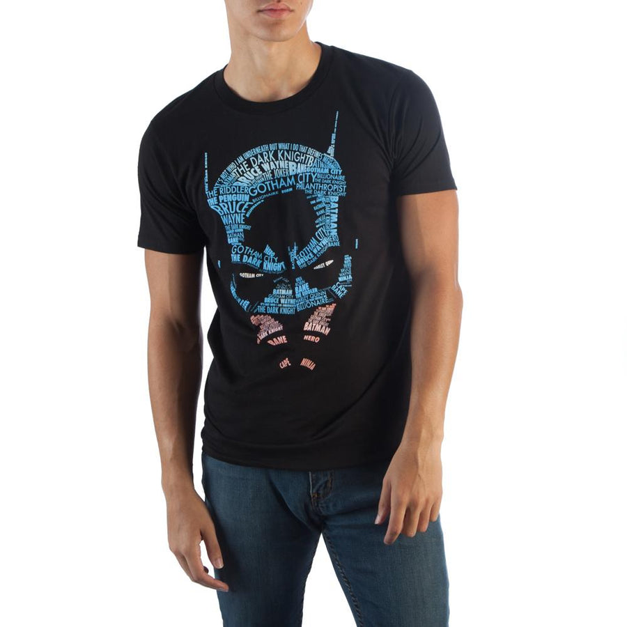 Batman Type Face Mens Black Po T-Shirt