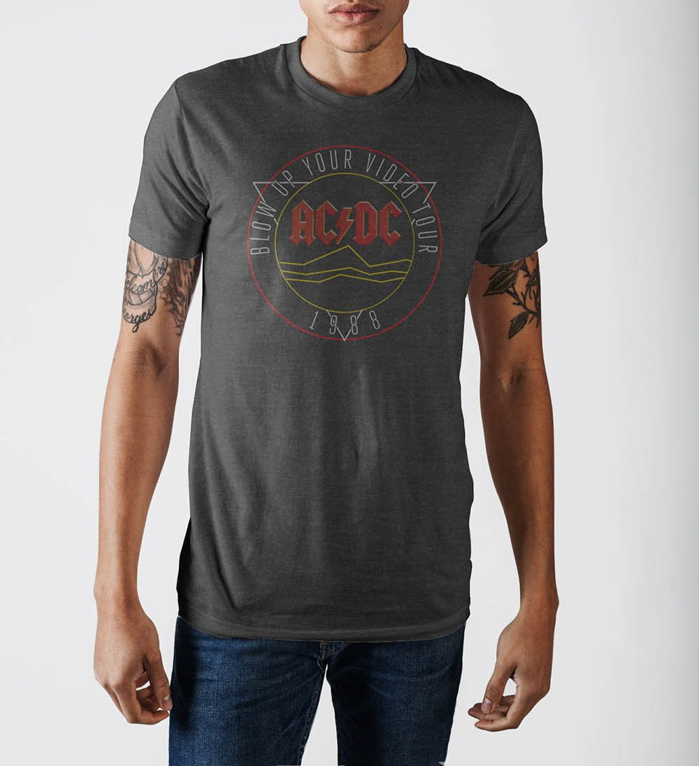 AC/DC  Mens Grey Soft Hand T-Shirt