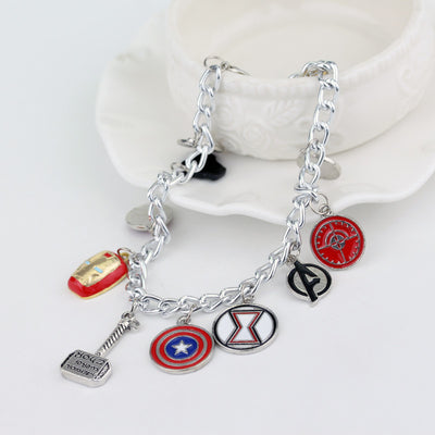 Marvel The Avengers 11 Charm Superhero Lobster Clasp Jewelry Bracelet-Bracelet-And 1 For All