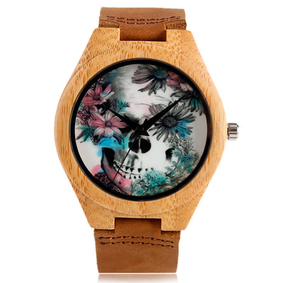 Flower Skull Wooden Handmade Bamboo Watch