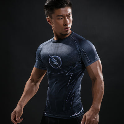 Marvel The Flash Men's Short Sleeve 3D Printed Quick Dry Compression T-Shirt, Dark Blue-T-Shirts-And 1 For All