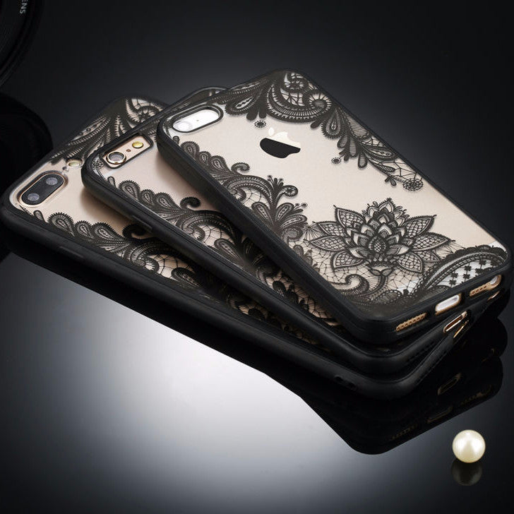 Apple iPhone Henne Lace Flower Phone Case 7 Plus/7/6s/6 Plus/5s SE - Hard TPU-And 1 For All