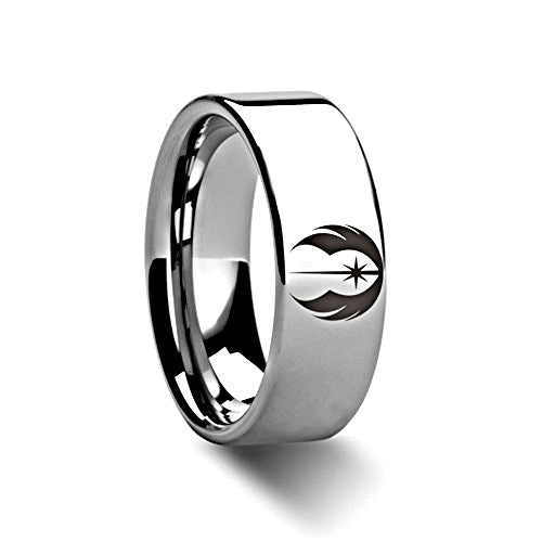 "Jedi Order Symbol Engraved Star Wars ""Tungsten"" Ring"