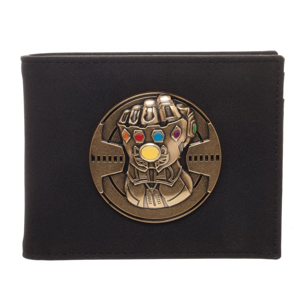 Infinity Gauntlet Bi-Fold Wallet, PU Leather Money ID Cards, Avengers Infinity War Thanos - Black