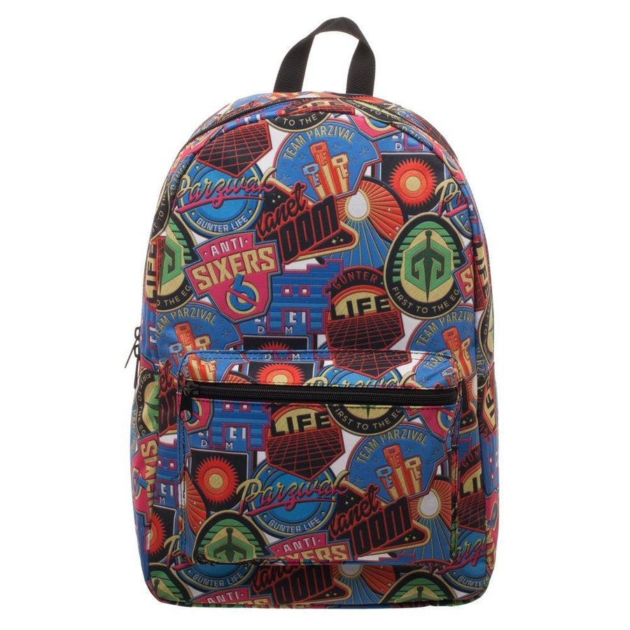 Ready Player One OASIS Patches Backpack, Polyester Sublimated Knapsack with Pocket, Gamer Tech