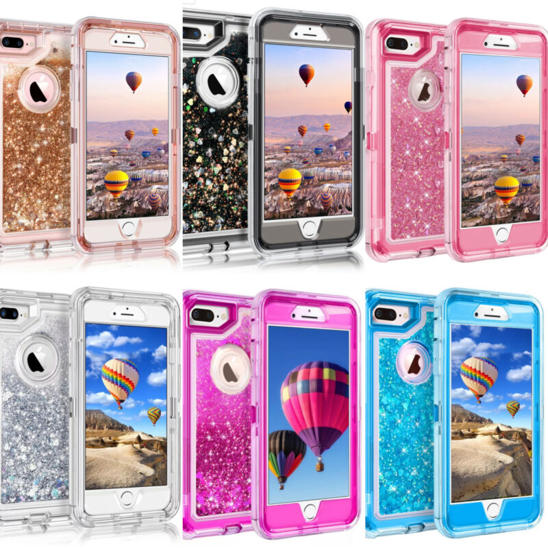 GLITTER IPHONE CASE -Free Tempered Glass and Clip Holder