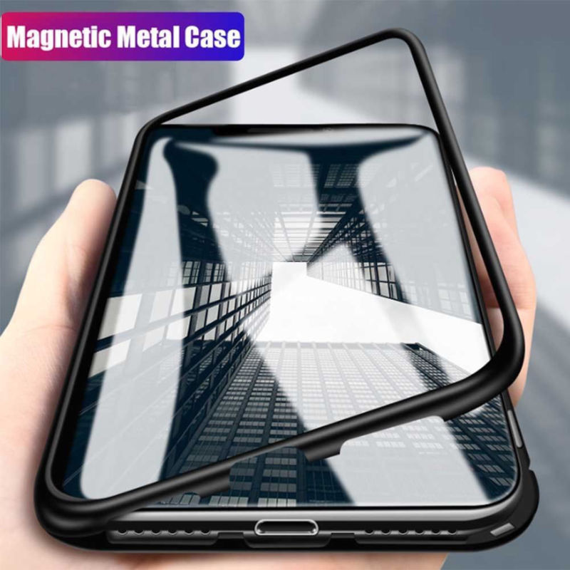 Magnetic Phone Case - Tempered Glass Back Cover