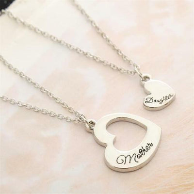 Mother Daughter Necklace Set - 2pcs Matching Hearts