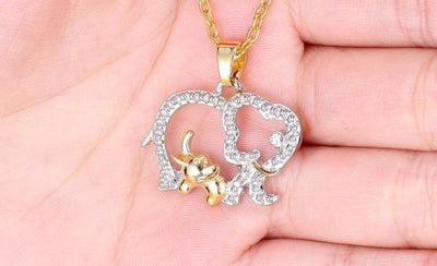 Mom and Baby Elephant Necklace | Crystal Jewelry