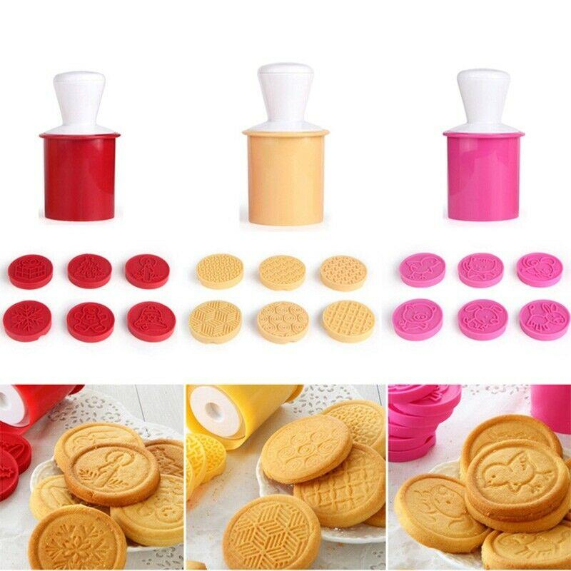 Silicone Cookie Stamp Cutter Molds 6 pcs.
