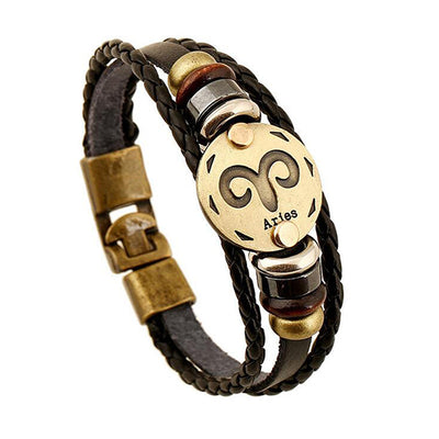 FASHION ZODIAC SIGNS BLACK GALLSTONE LEATHER BRACELET