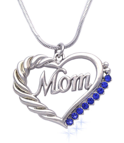MOM Word Engraved Crystal Heart Necklace w/Gift Box and Card | Sterling Silver