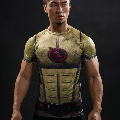Marvel The Flash Men's Short Sleeve 3D Printed Quick Dry Compression T-Shirt, Yellow-T-Shirts-And 1 For All
