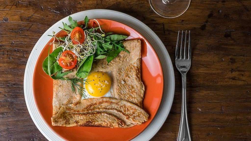 Buckwheat  Crepe with Chicken, Asparagus & White Cheddar