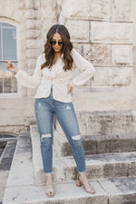 casual chic white twist front top