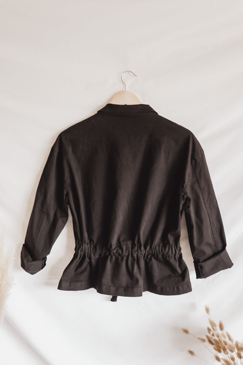 Cinched Black Boxy Jacket
