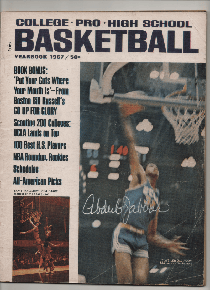 "1967 College-Pro-High School Basketball Yearbook - ""UCLA'S Lew Alcindor American Sophomore"" Signed Kareem Abdul Jabbar"