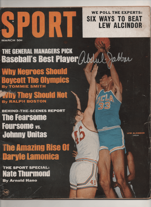 "1968 Sport - ""We Poll the Experts: Six Ways to Beat Lew Alcindor"" Signed Kareem Abdul-Jabbar"
