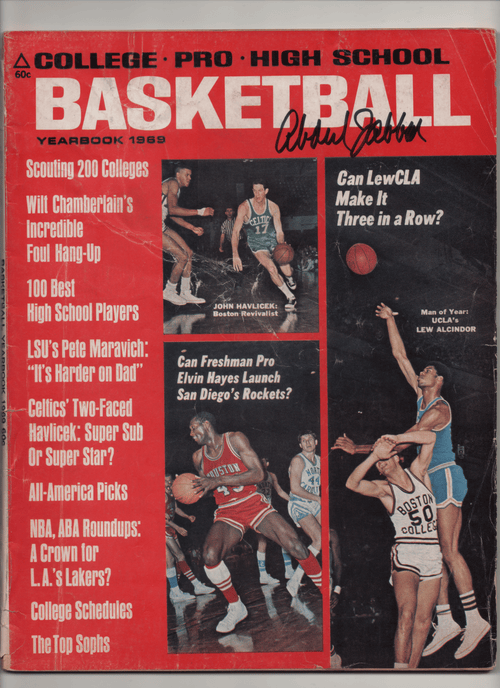 "1969 College-Pro-High School Basketball Yearbook ""Can LewCLA Make It Three In A Row?"" Signed Kareem Abdul Jabbar"