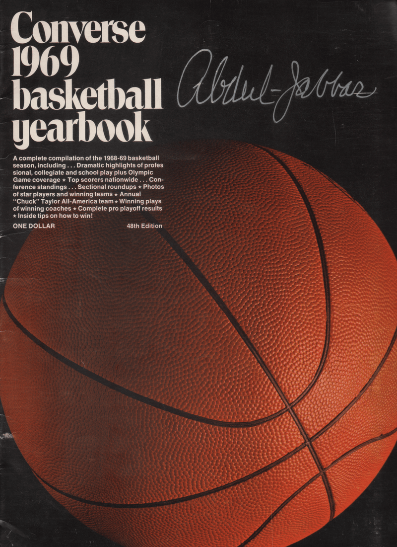 1969 Converse Basketball Yearbook - Signed Kareem Abdul Jabbar
