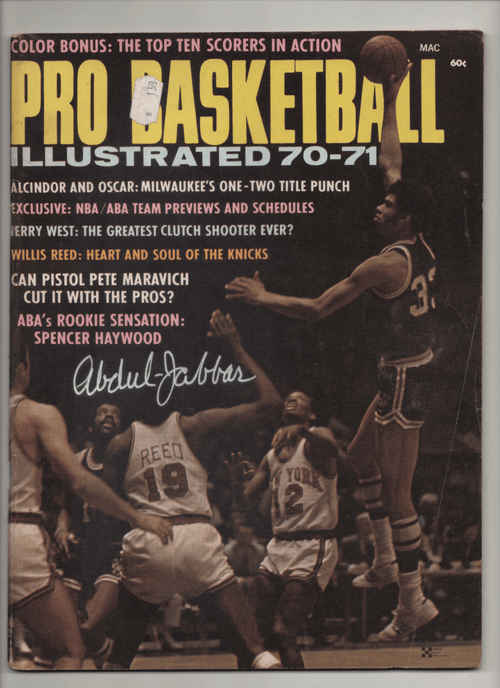 1970-71 Pro Basketball Illustrated-Alcindor and Oscar: Milwaukee's One-Two Title Punch - Signed Kareem Abdul-Jabbar