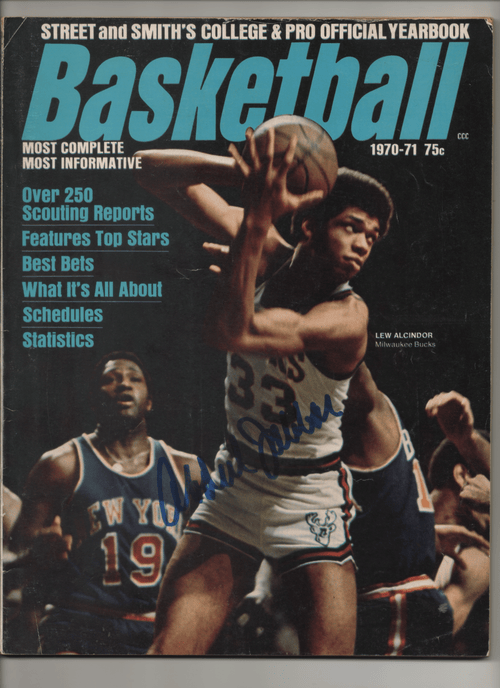 1970-71 Street and Smith College & Pro Official Yearbook Basketball-Lew Alcindor - Signed by Kareem Abdul-Jabbar