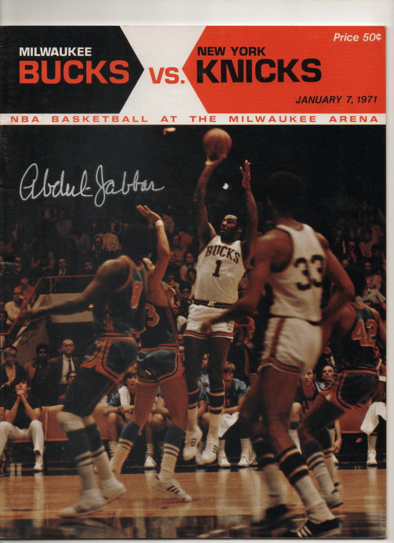 1971 Milwaukee Bucks vs. New York Knicks Game Program - Signed by Kareem Abdul-Jabbar