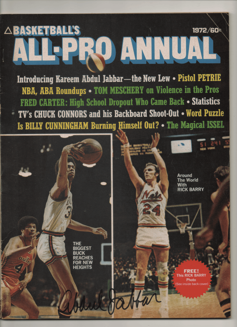 1972 Basketball All-Pro Annual - Signed by Kareem Abdul-Jabbar