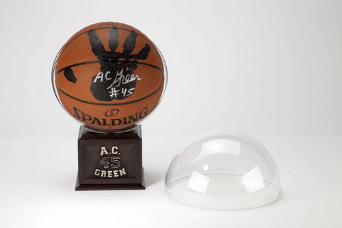 A.C. Green Personally Hand-Printed + Signed NBA Basketball with Stand