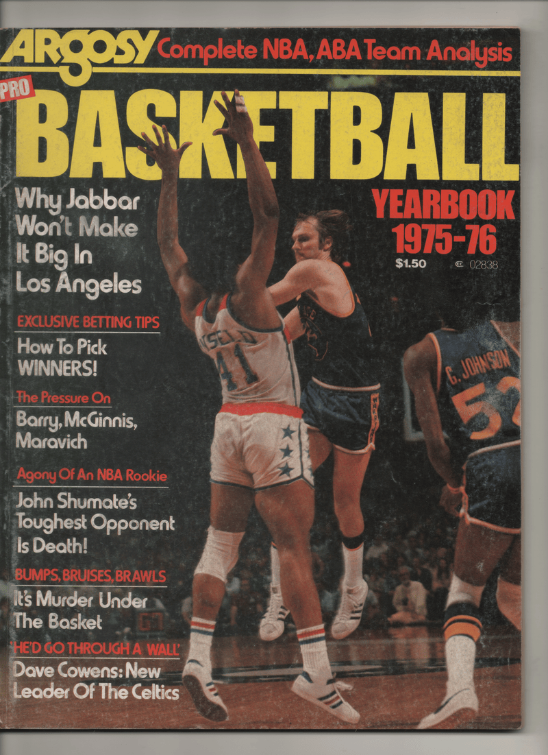 "1975-76 Argosy Pro Basketball Yearbook ""Why Jabbar Won't Make It Big In Los Angeles"""