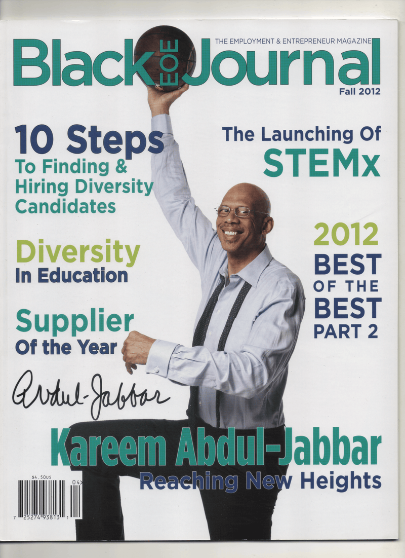 "2012 Black EOE Journal ""Kareem Abdul Jabbar Reaching New Heights"" Signed Kareem Abdul Jabbar"