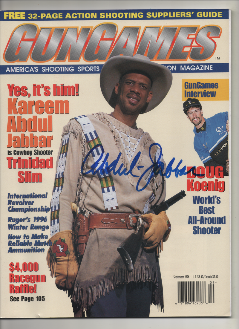 "1996 Gun Games Magazine ""Yes it's Him! Kareem Abdul Jabbar is Cowboy Shooter Trinidad Slim"" Signed Kareem Abdul Jabbar"