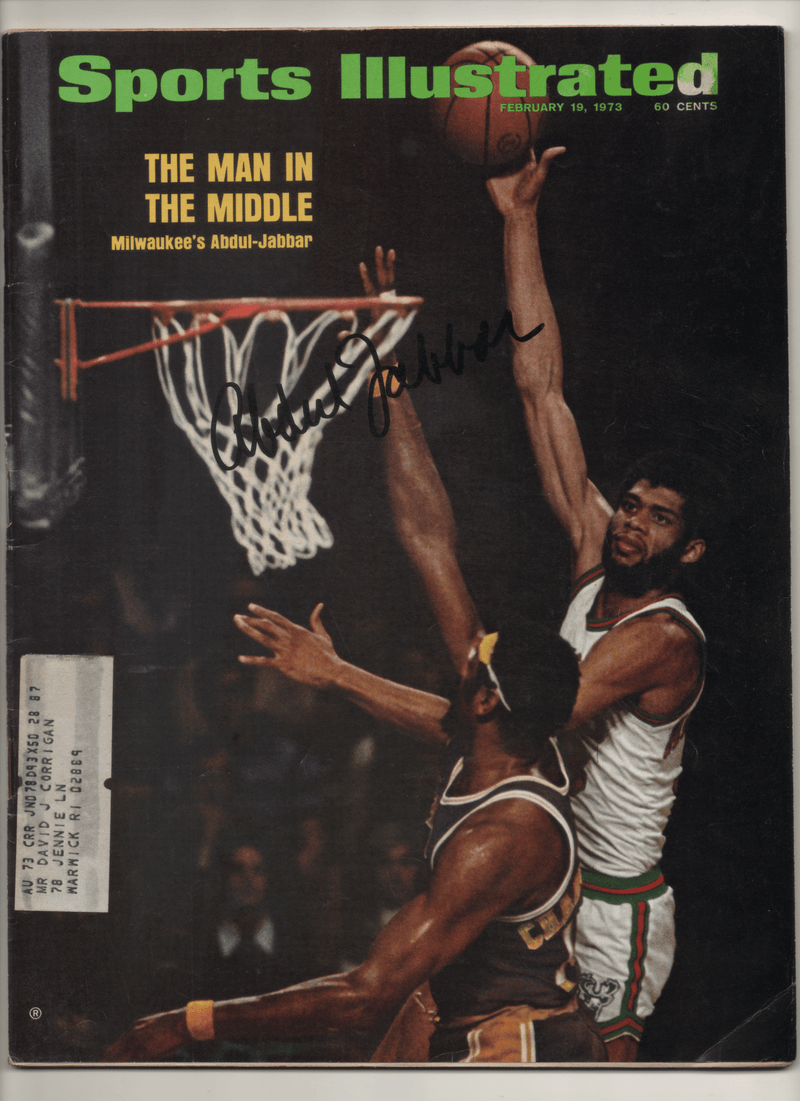 "1973 Sports Illustrated ""The Man In The Middle Milwaukee's Abdul-Jabbar"" - Signed Kareem Abdul Jabbar"