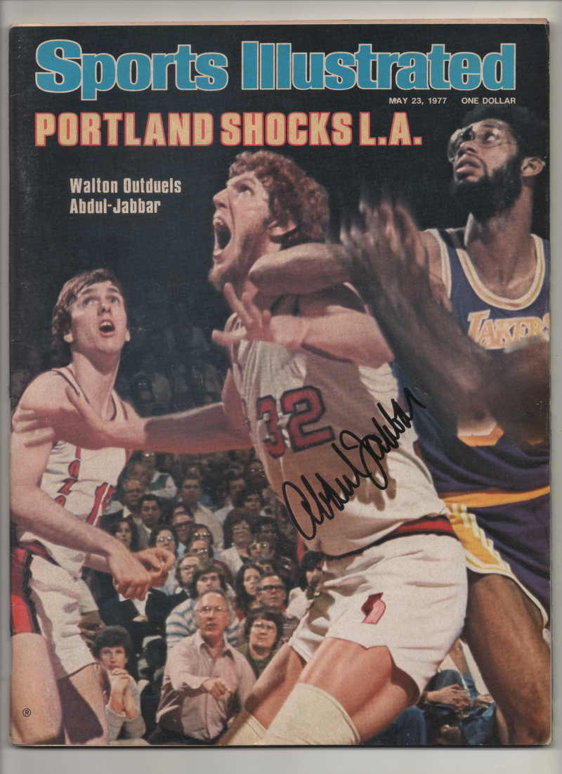 "1977 Sports Illustrated ""Portland Shocks L.A.-Walton Out duels Abdul-Jabbar"" Signed Kareem Abdul Jabbar"