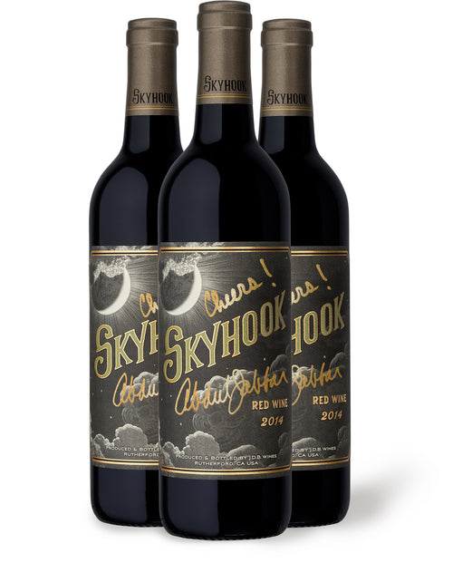 Autographed 3-Pack of Skyhook Wine (2014 RED WINE)