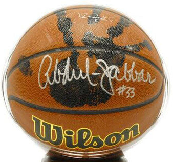 Kareem Abdul Jabbar Signed NCAA Basketball + Actual Hand-Print