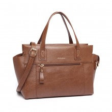 MISS LULU LEATHER LOOK CLASSIC HANDBAG - BROWN
