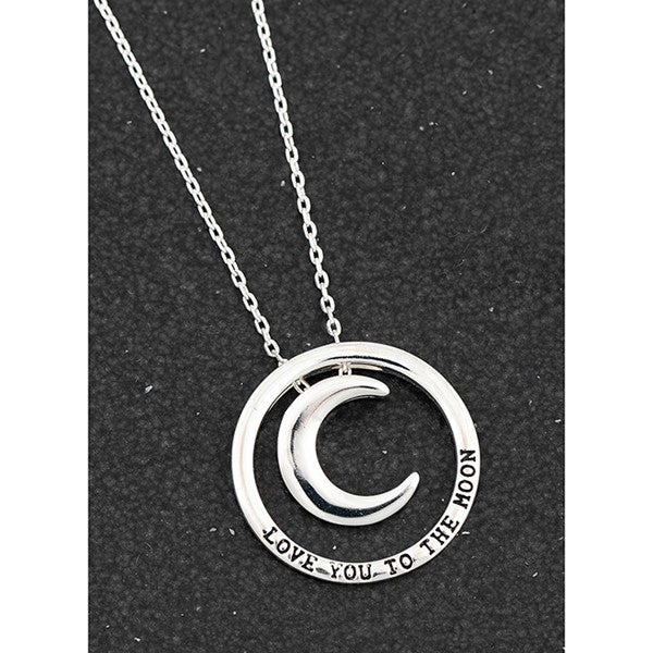 Message Ring Charm SP Necklace Moon