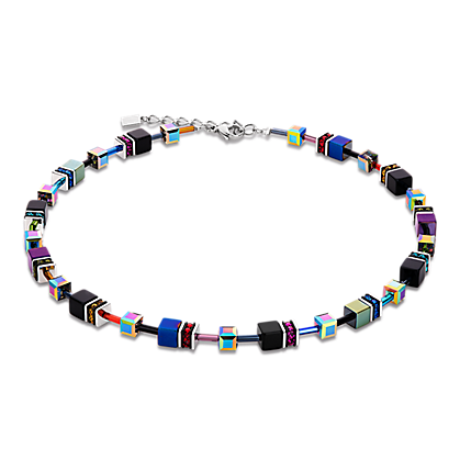 Geo Cube Necklace multicolour purple-blue