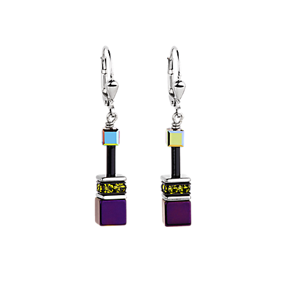 Geo Cube Earrrings purple