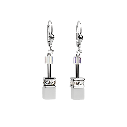 Geo Cube Earrings white-crystal