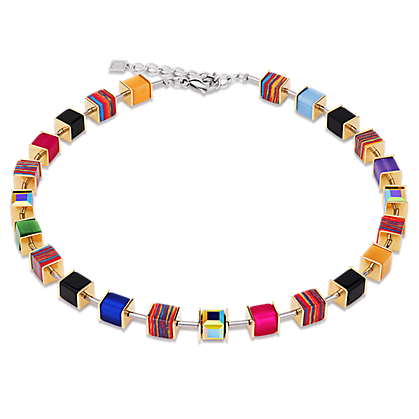 Geo Cube Necklace Swarovski® Kristalle Malachit multicolor gold