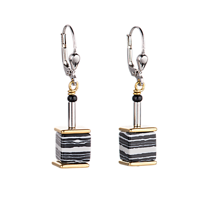 Geo Cube Earrings grey-beige