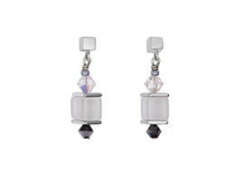 Coeur De Lion Geo Cube Collier Swarovski® Crystals & Opalique Glass Earrings