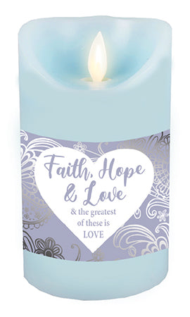 LED Candle/Scented Wax/Faith, Hope, Love Candle has a timer and a flickering flame.