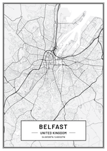 Belfast Map Print| Map Print| Map Wall Art| Map Poster Unframed