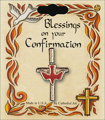 Blessing on your confirmation Dove on Cross Pin/Brooch
